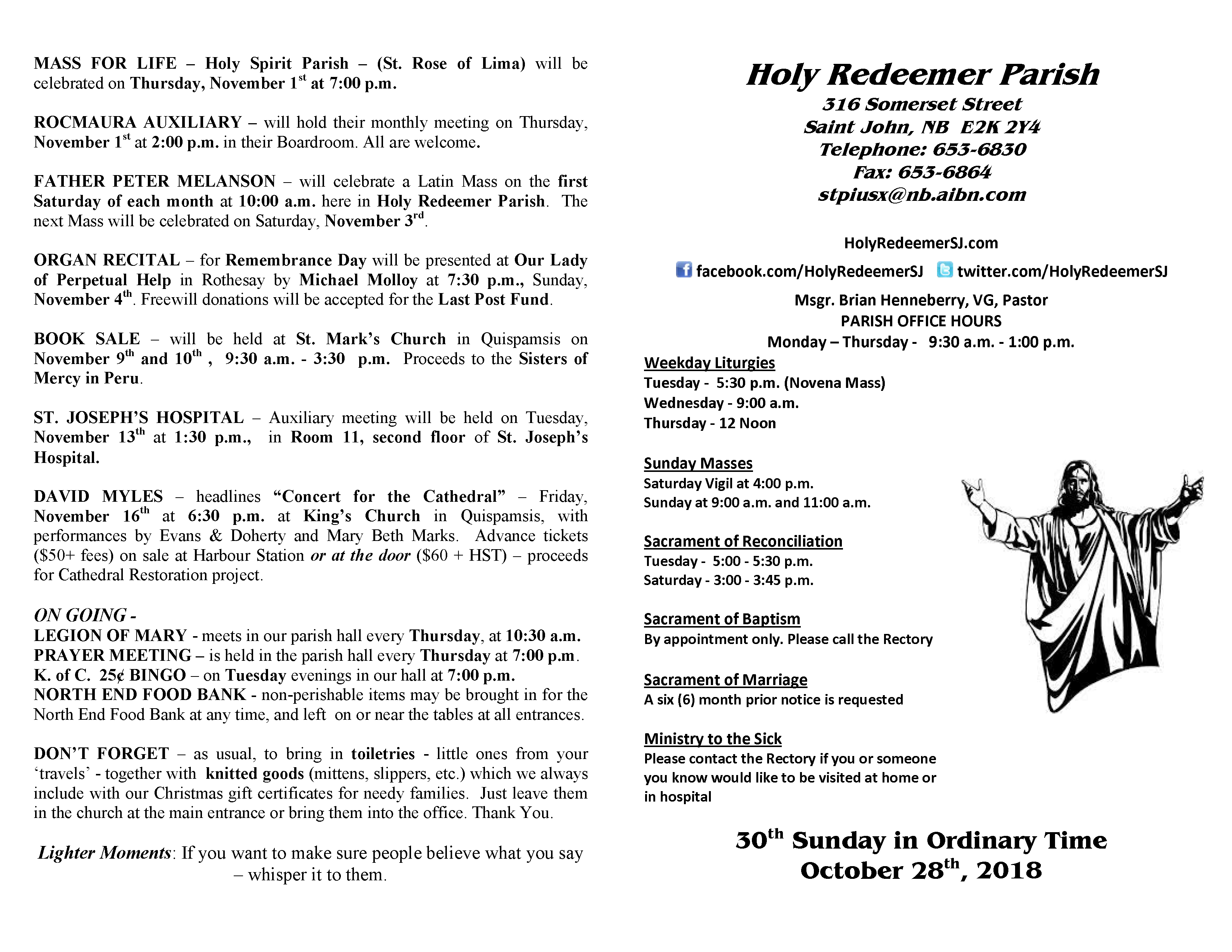 October 28 Bulletin – Holy Redeemer