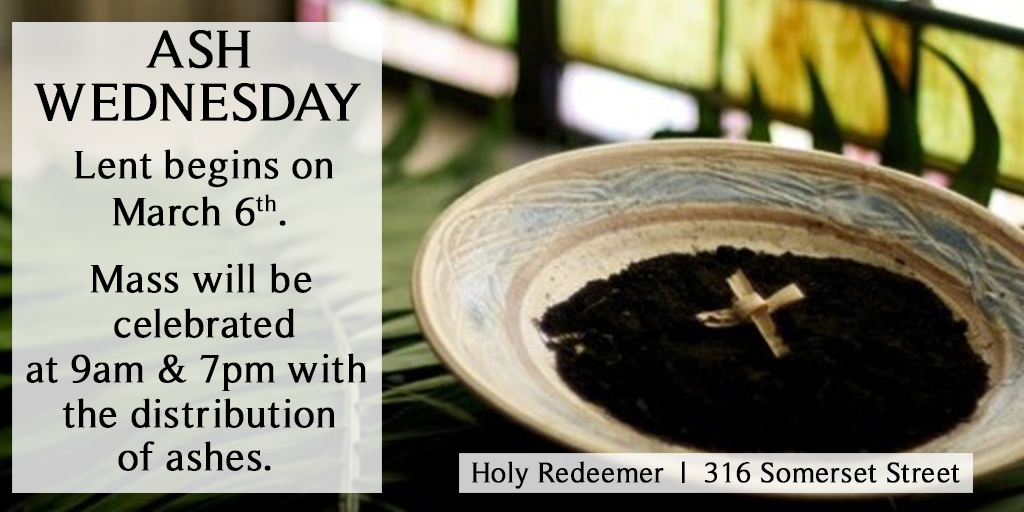 Ash Wednesday Masses are at 9am & 7pm.