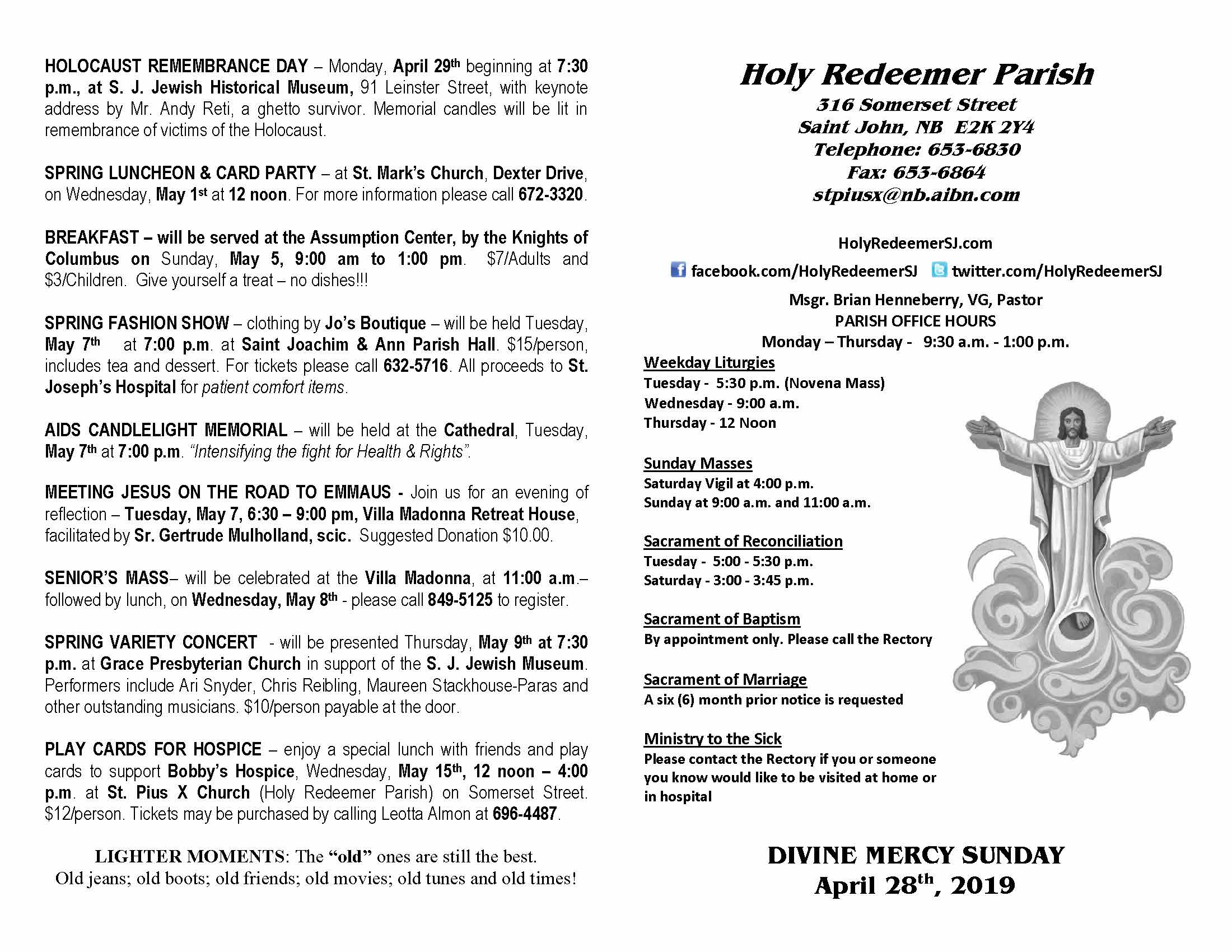 April 28 Bulletin – Holy Redeemer