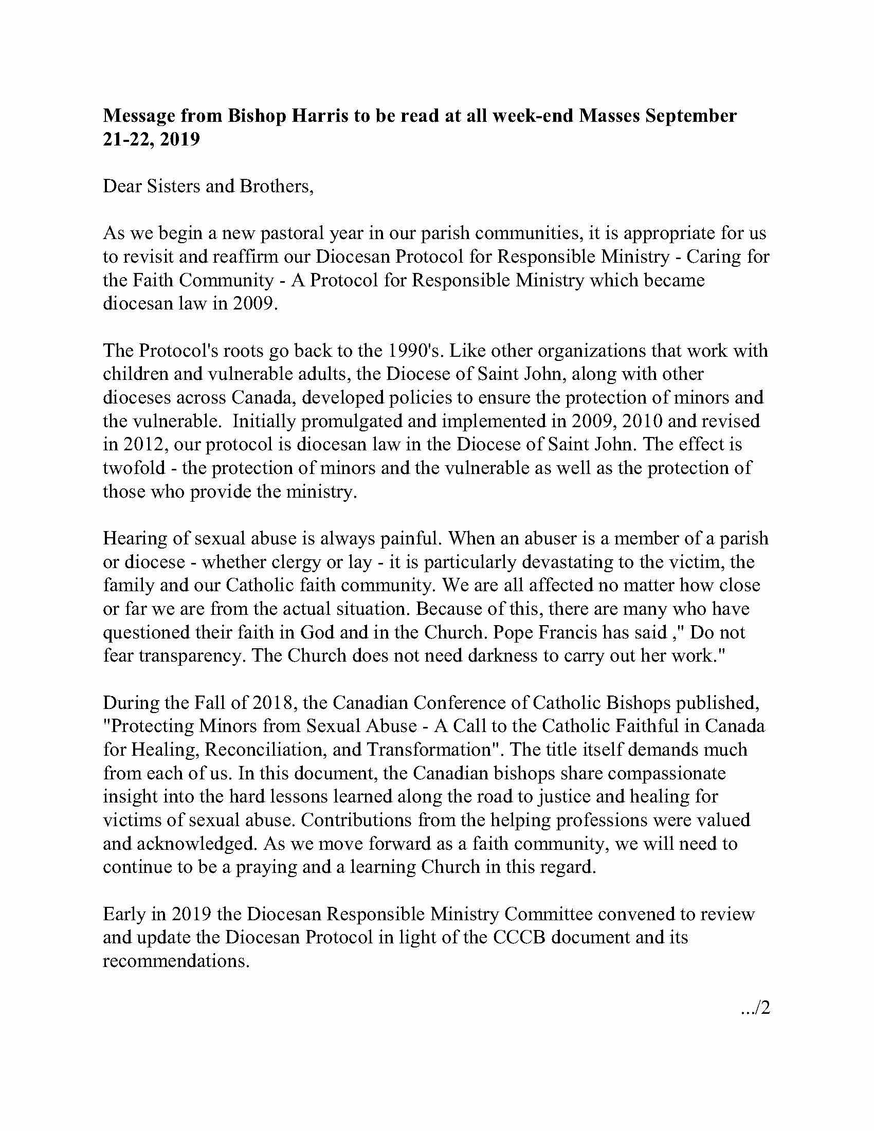 Letter - Bishop Harris