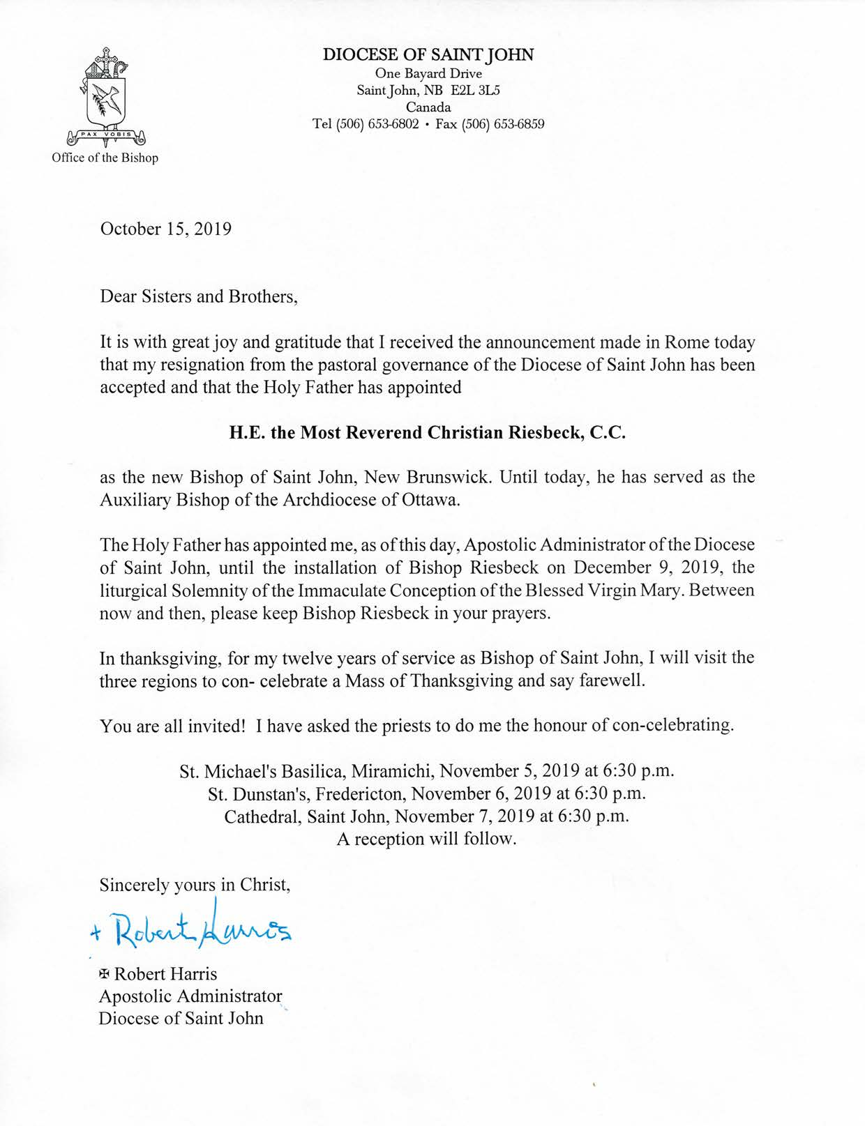 Letter From Bishop