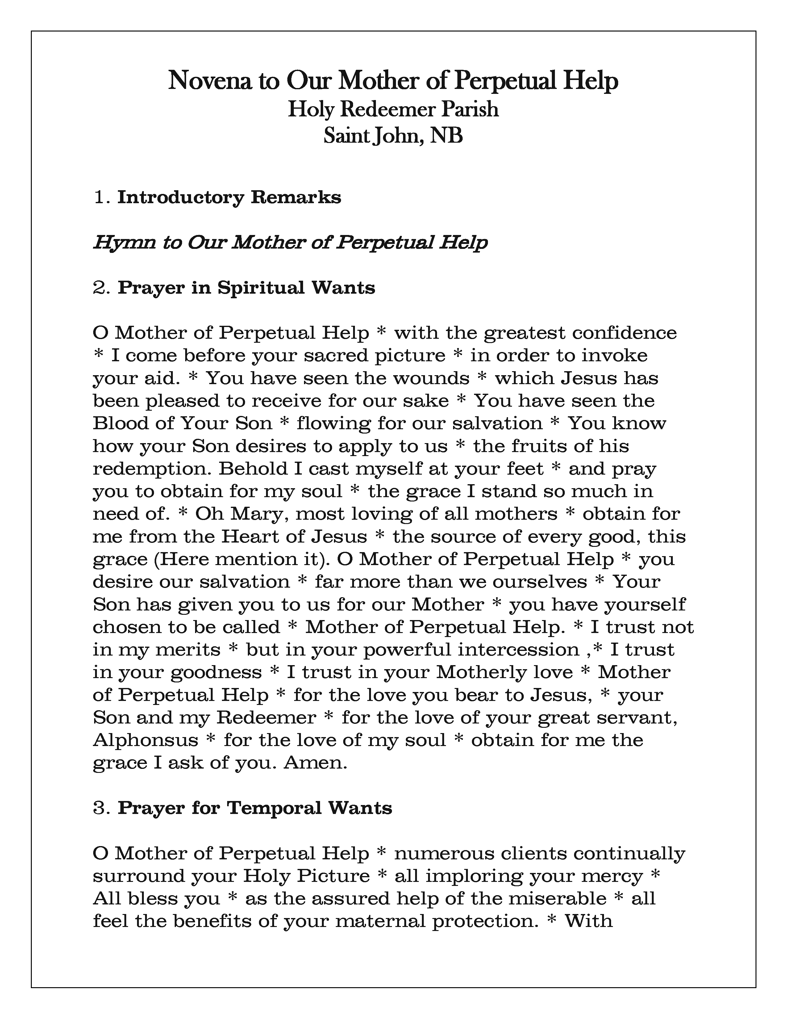 Novena Prayer Card (Revised)