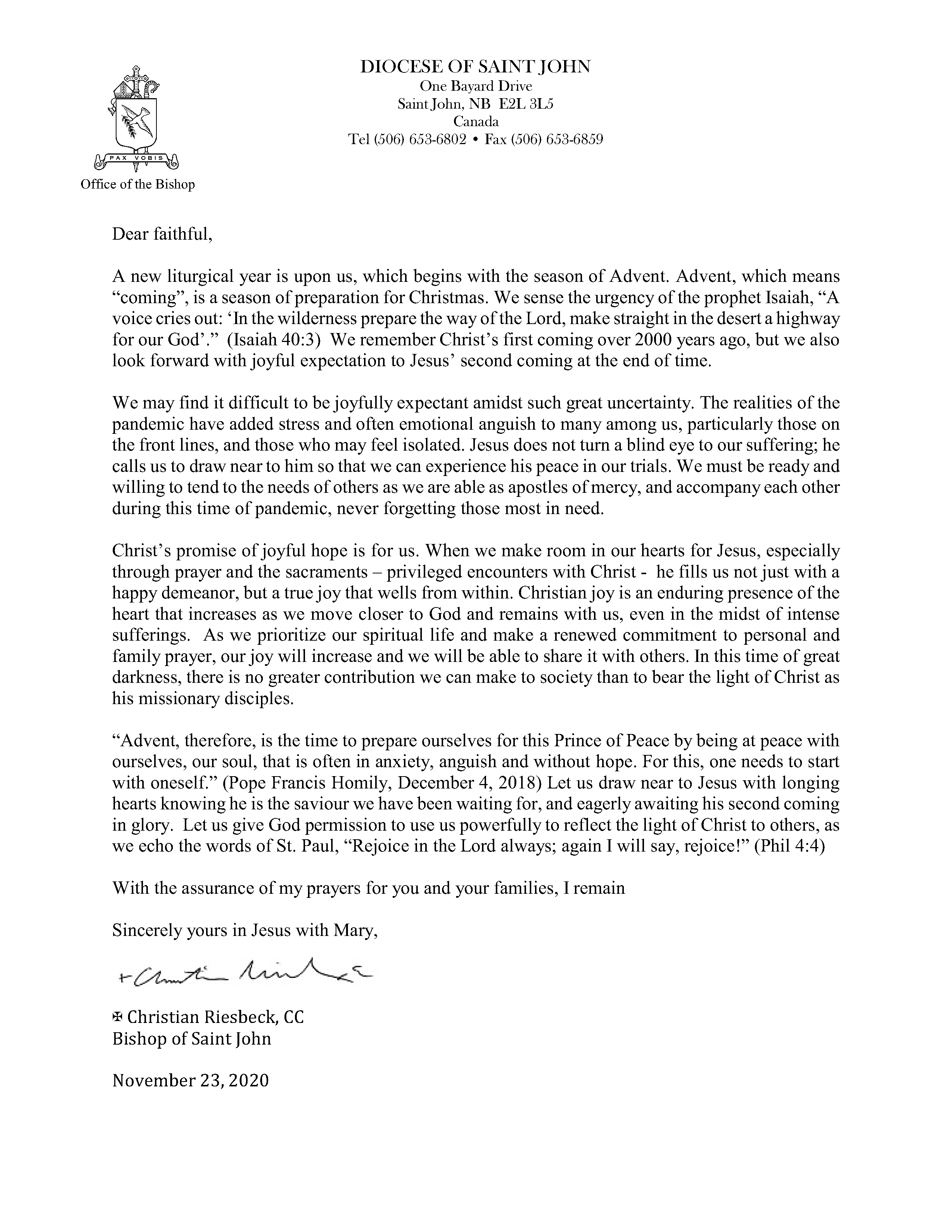 Advent Letter