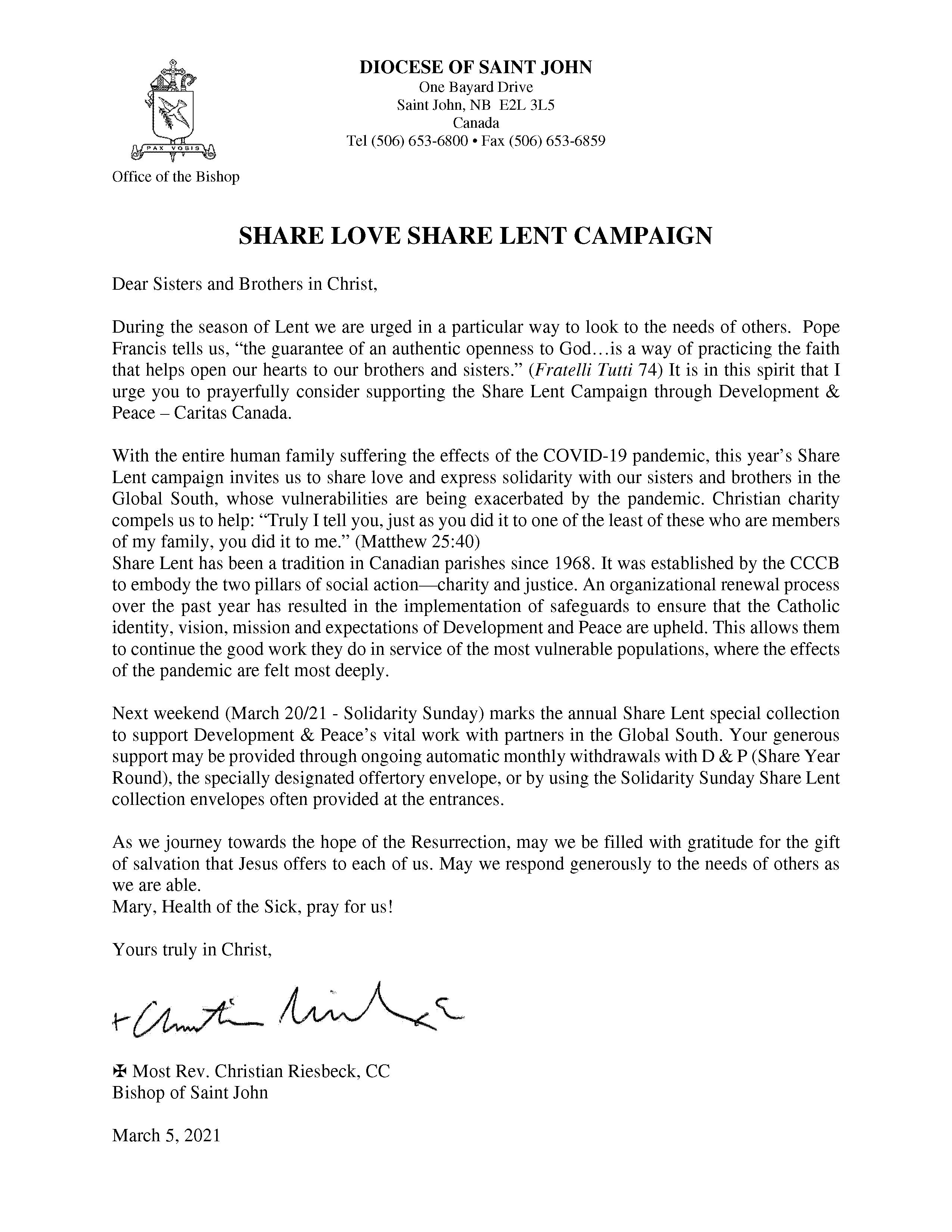 Share Lent Letter