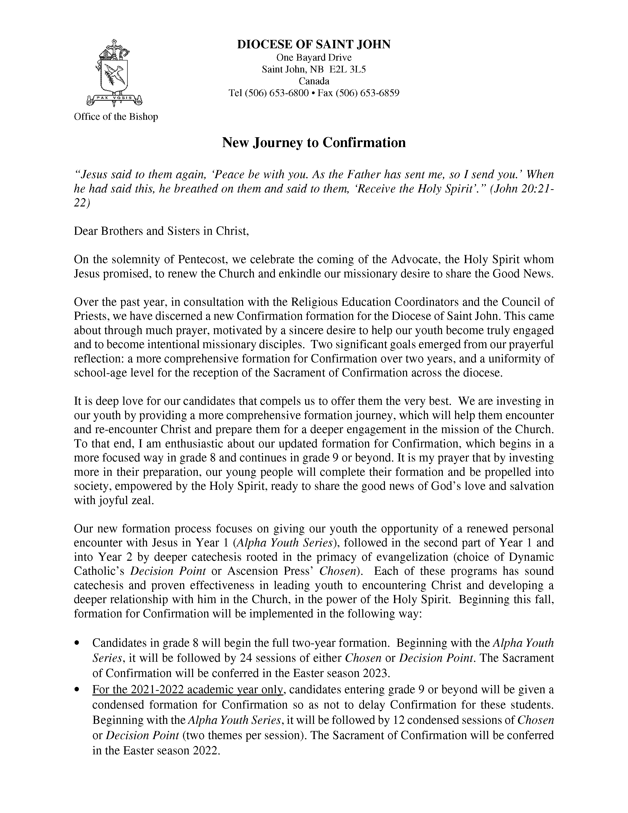 Bishop's Letter Regarding Confirmation