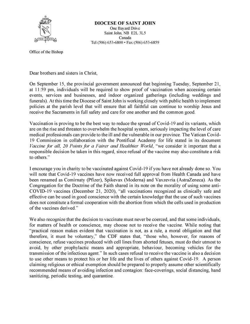 Bishop's COVID-19 Vaccination Letter