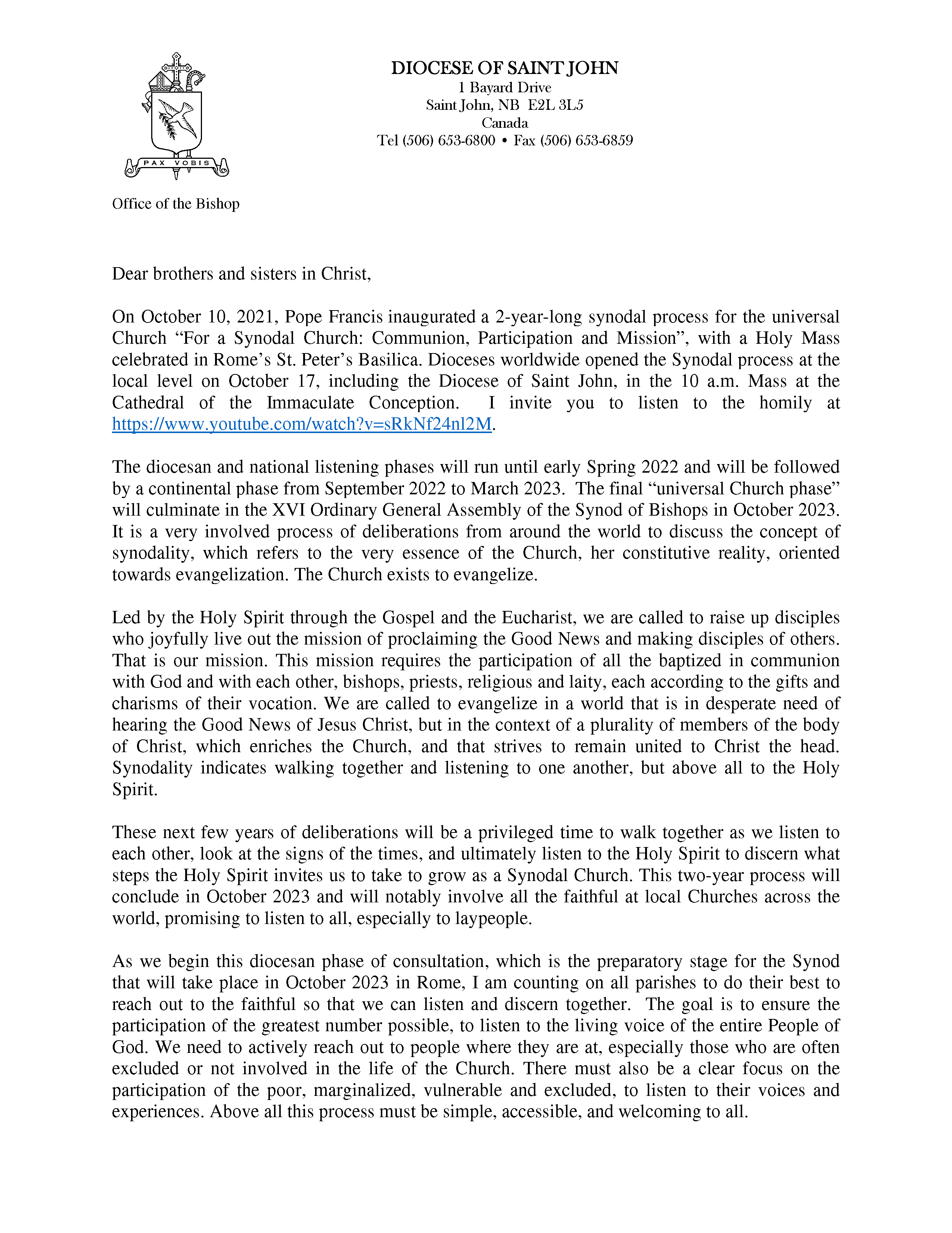 Synod letter